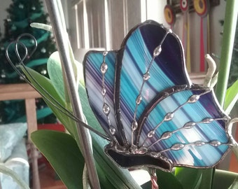 Blue, Purple and White Stained Glass Butterfly Garden Stake, Plant Stake, Garden Decoration, Tiffany Butterfly