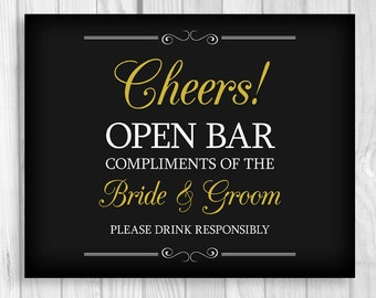 Printable 8x10 Cheers Open Bar Wedding Reception Digital Sign - Black, White and Gold - Instant Download