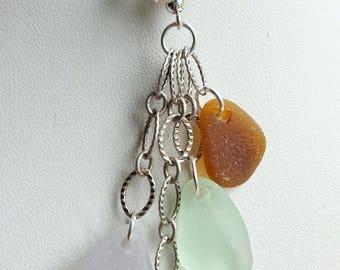 Sea Glass Necklace Sea Glass Jewelry Aqua Sea Glass Kelly Green Sea Glass Amber Brown Necklace Sterling Silver N-499