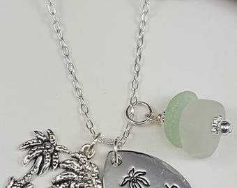 Sea Glass Necklace Sea Glass Jewelry Aqua Sea Glass Pendant Beach Girl Necklace Sea Glass Jewelry N-517