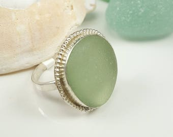Sea Glass Jewelry Sea Glass Ring Aqua Seafoam Sea Glass Ring Aqua Seafoam Beach Glass Ring Size 9 - R-154
