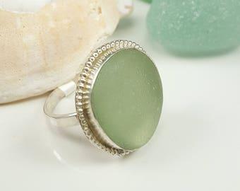 Sea Glass Jewelry Sea Glass Ring Aqua Seafoam Sea Glass Ring Gift for Women Christmas Gift Aqua Seafoam Beach Glass Ring Size 9 - R-154