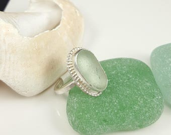 Sea Glass Jewelry Aqua Sea Glass Ring Beach Glass Jewelry Beach Glass Ring Size 6  - R-156