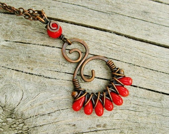 Red Coral Necklace - wire wrapped pendant necklace with red coral teardrop beads criss cross wrapped in antiqued copper