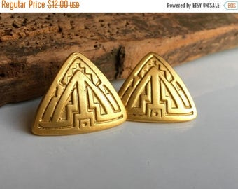MARCH MADNESS SALE A.J.C. Vintage Earrings, Triangular Earrings, Tribal Earrings, Etched Earrings, Post Earrings, 80's Earrings, 1980's Earr