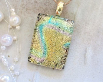 Dichroic Pendant, Fused Glass, Glass Jewelry, Necklace, Gold, Aqua, Necklace Included, A12