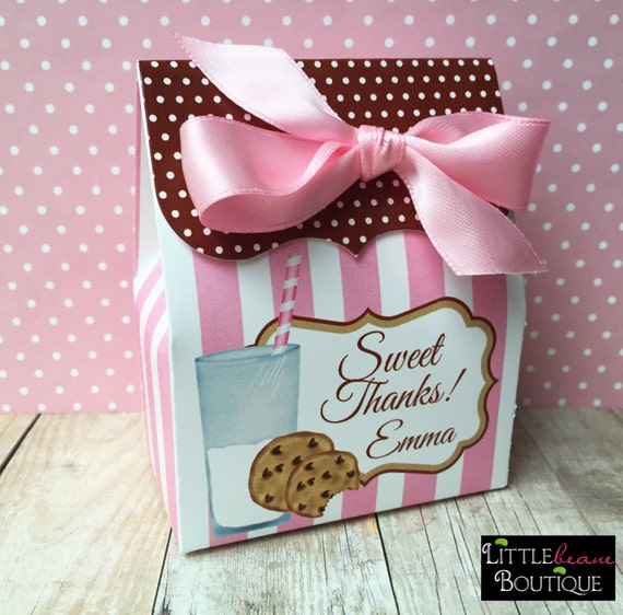 Cookies And Milk Birthday Party, Personalized Favor Box