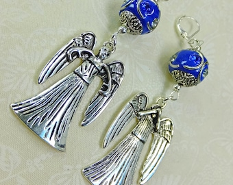 Doctor Who Inspired Pewter Weeping Angel with Fancy Blue Beads Dangle Earrings