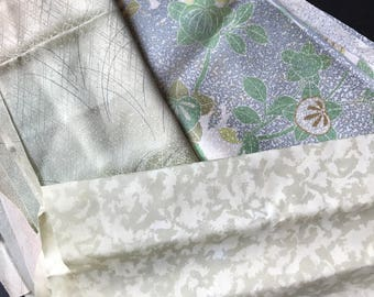 "Kimono fabric pieces - silk blends - sewing supplies - 8x10"" - 12 panels - pastel silk japanese vintage silk crafting supplies"