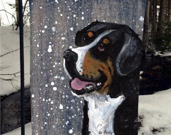 "Greater Swiss Mountain Dog ""Swissy"" 12"" by 18"" GARDEN FLAG by Amy Bolin"