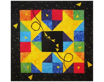 Colorful Abstract Art Quilt, Fabric Wall Hanging, Fiber Art, Traditional Friendship Star Block