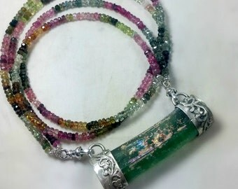 Roman Glass Necklace,   Silver ,Tourmaline strand and Roman glass Collar, Elagant Glass Statement Necklace