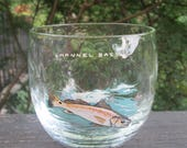Three Small Vintage Beverage Glasses/ Cocktail Glasses - Clear Glasses With Fish Design - Eight Ounce Round Glasses