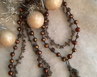 Striking Copper Pearl and Smokey Quartz Necklace with Pendant