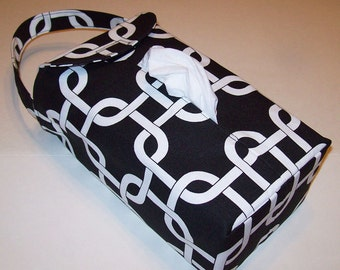 NEW!  Automobile Hanging Tissue Box Cover*/ Tissue Box Cozy / Automobile Accessory For Your Car / Black And White Chain Link