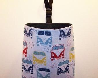 Car Litter Bag // Auto Litter Bag // Auto Trash Bag // Stay Open Design! // VW Buses On Light Cream