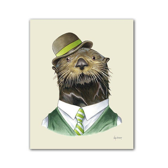 Otter art print - Animal art - Nursery art - Nursery decor - Animals in Clothes - Children's art - Ryan Berkley Illustration 8x10