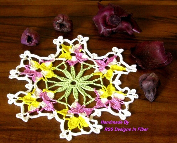 Garden Violas Thread Crochet Lace Doily - Handmade Decor Accent in Light Pansy, Lavender, Yellow - Small 7 Inch - Boho Decor