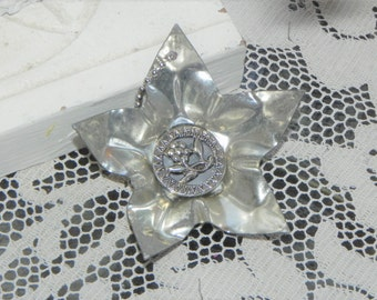 Old Metal Star Reflector Ornament w/Vintage Mirror Back Button~ Package Add On ~Whimsy Decor