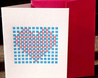 Letterpress Heart Folded Greeting Card