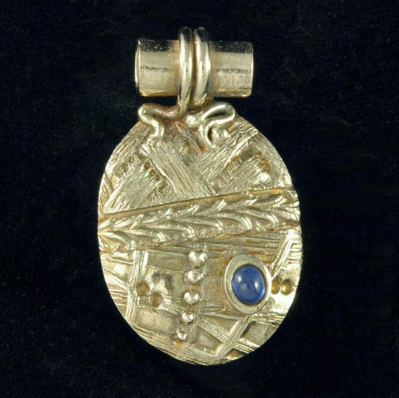 Fine Silver Patchwork Pendant with Natural Sapphire Cabochon