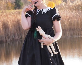 Gloomth Nautical Sailor Babydoll Dress with Velvet Details Sizes XS to 1XL or Custom