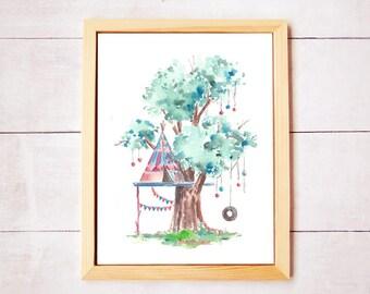 Treehouse Series 16 Watercolor Art Print - Digital Download