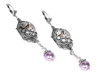 Steampunk Jewelry Steampunk Earrings Silver ART DECO Watch Pink White Pearl Dangle Earrings, Bridal Mothers Day Gift- Jewelry by edmdesigns
