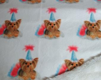 Yorkie Birthday Blanket - Minky Blanket - Yorkie Birthday Hat  Blanket - with or without ruffle