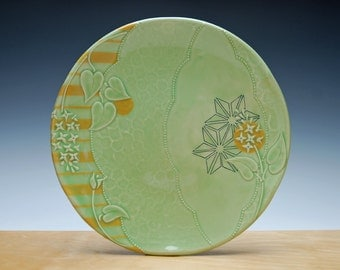 Large Spring Green handmade plate, Floral w. Tangerine orange stripes & Navy detail, Victorian modern, Serving / dinnerware