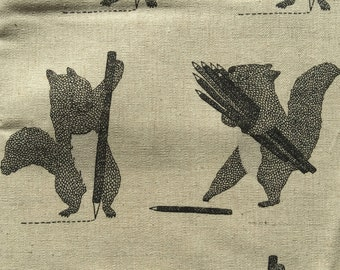 Squirrels and Pencils natural and black Japanese cotton linen canvas D2