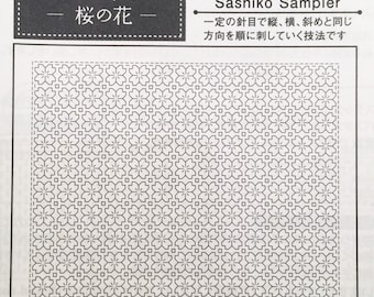 Olympus #1033 Japanese hitomezashi sashiko sampler Cherry Blossom Sakura WHITE cotton
