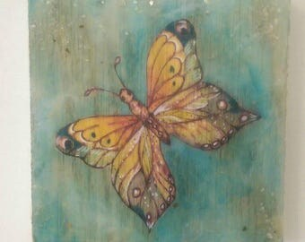 Butterfly Art - Watercolor - Ink - Mixed Media - Encaustic Art - Original Fantasy Art - Art for Small Space - Unique Art - Gift for Mom