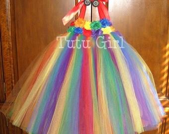 Rainbow Tutu Dress Flower Girl, Circus Tutu Dress, Birthday Rainbow Tutu Dress for Girls