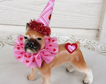 Valentine's Day Decoration Vintage Boxer Dog Figurine  Valentine Ornament  Valentine gift TVAT