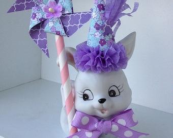 Birthday Decoration Vintage Homco Bunny Rabbit Figurine Birthday Ornament TVAT.