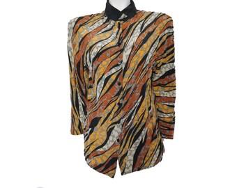 Vintage Nina Lee Shirt//Fall Style Colors Women Shirt // Made in Korea Blouse// Size S// 209