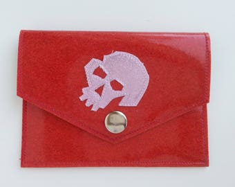 Metalflake Vinyl Snap Wallet Id Holder Hot Pink w Light Pink Skull