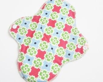 Mama Cloth Menstrual Pad / Cloth Pad ... 10 inch Pink Green & Blue Printed Cotton FREE SHIPPING