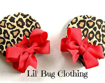 Leopard Print And Red  Animal Kingdom Girls Minnie Mouse Ears Hair Clip Accessories