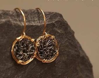 Tiny black silver and goldfill earrings