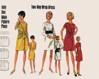 1960s MOD Two- Way Front and Back WRAP Dress Butterick 4854 Vintage 60s Sewing Pattern Sz 12 Bust 34