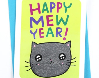 Happy Mew Year - New Year's Card, Funny Christmas Card, Punny Cards, Holiday Greetings, Season's Greetings, Cat Christmas Card New Year card