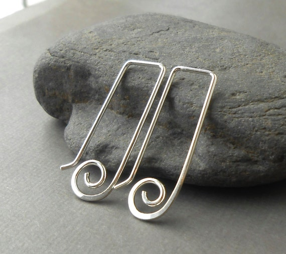 Sterling Silver Spiral Earrings, Minimal Wire Jewelry