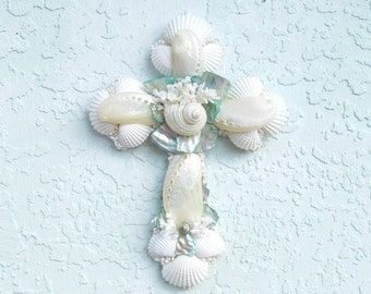 Shell Cross, Abalone Seashell Crucifix, Aqua Pearl Cross, Cross with Shells, Religious Gift, Baptism, New Baby Baptism Gift, Aqua and White