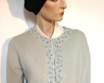 Beaded Cardigan Sweater Vintage 50s Sequins and Beads Blue Size 6 to 8