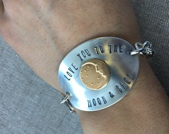 Love you to the moon and back soldered spoon bowl bracelet