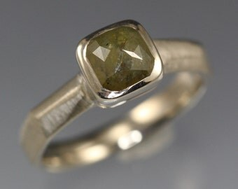 1.33 carat Olive Green Rose Cut Diamond Ring