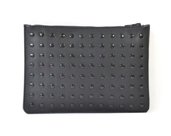 Coralie - Handmade Black Studded Leather Clutch Bag Zip Pouch Purse SS17
