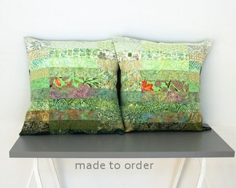 Quilted Pillow Shams Euro Size Pillow Shams Modern Pillow Shams Quilted Bed Pillows Quilted Pillow Covers Green Pillow Shams Green Pillows